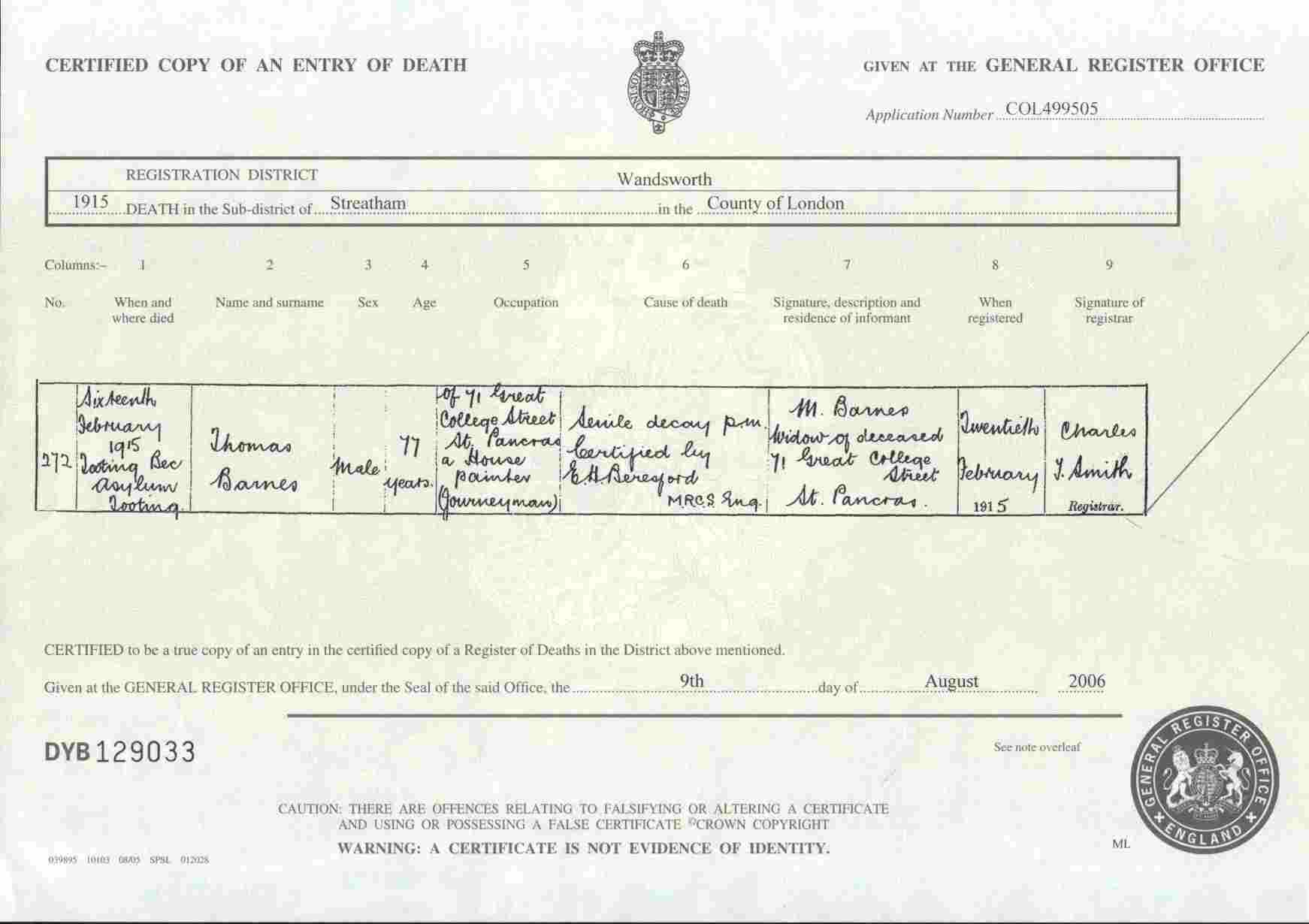 Barnes family history this was thought to be the death certificate for my great great grandfather thomas barnes born 1838 he appears in the 1901 census for wandsworth and his aiddatafo Image collections